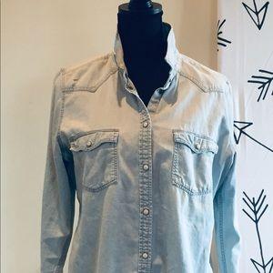 Classic Denim light wash jean shirt